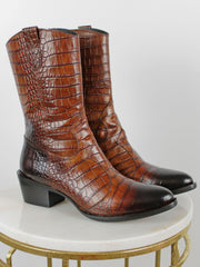 PONS QUINTANA COWBOY BOOTS BROWN LOW HEEL CROCODILE EFFECT