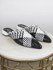 Pons Quintana Sonia Woven Mule Black & White