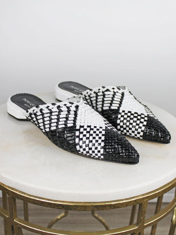 Pons Quintana black and white mules