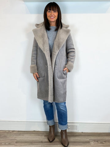 Rino & Pelle Erlina Reversible Faux Sheerling Coat Taupe