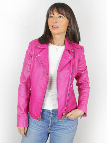 Set Leather Jacket Pink