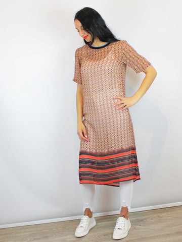 Tunic Dress Tabard Red Longline Split