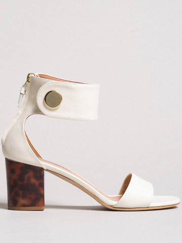 Twinset sandals ivory with tortoise heel