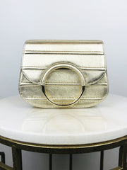 UNISA ZAON METALLIC LEATHER HOOP CLUTCH PLATINUM