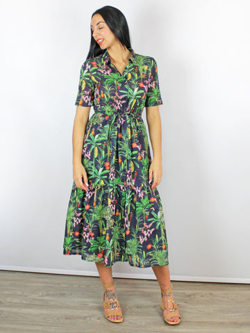 Vilagllo Eveline Jungle Midi Dress Green