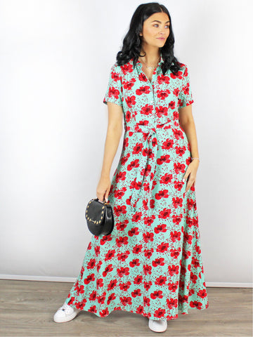 Zilch Poppy Print Maxi Shirt Dress Red & Green