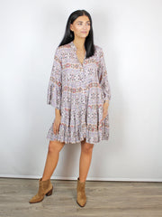 Aztec Print Tunic Dress Lilac