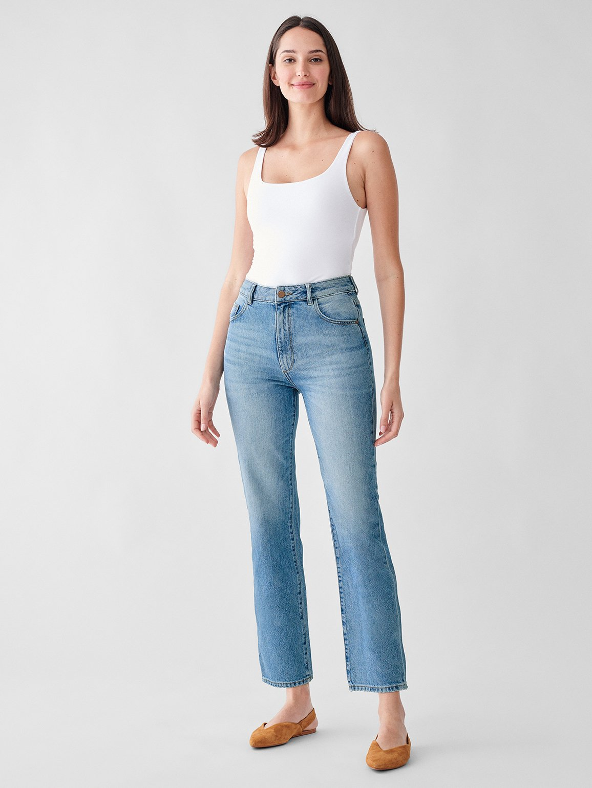 DL1961 Jerry High Rise Vintage Straight Jeans Lakewood Blue