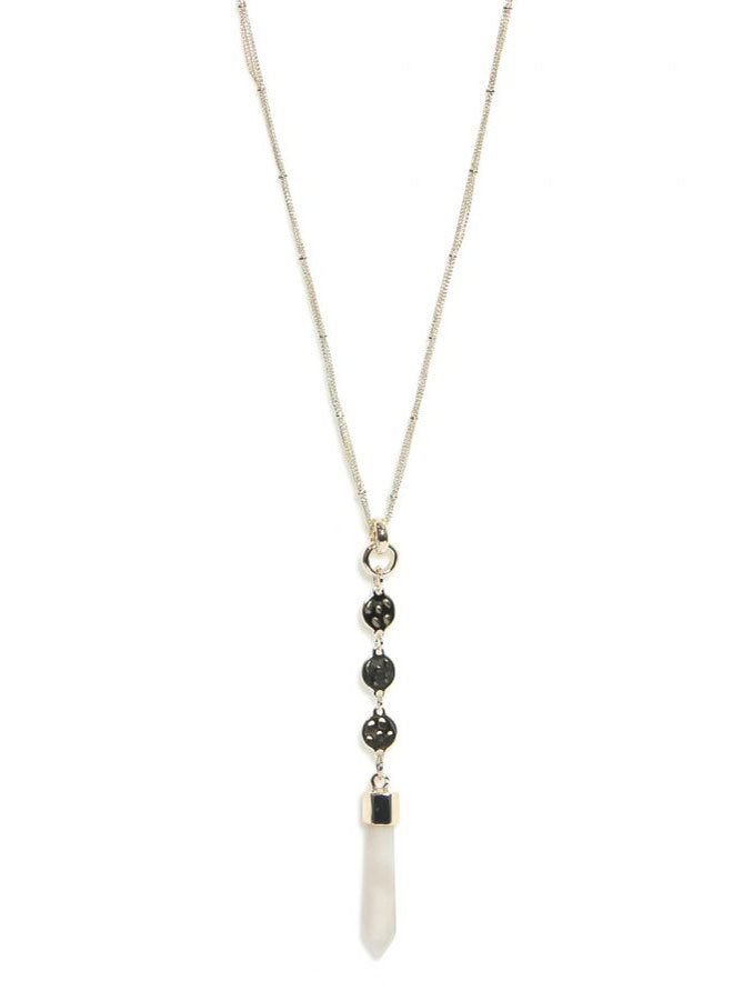 Envy Long Stone Necklace Gold