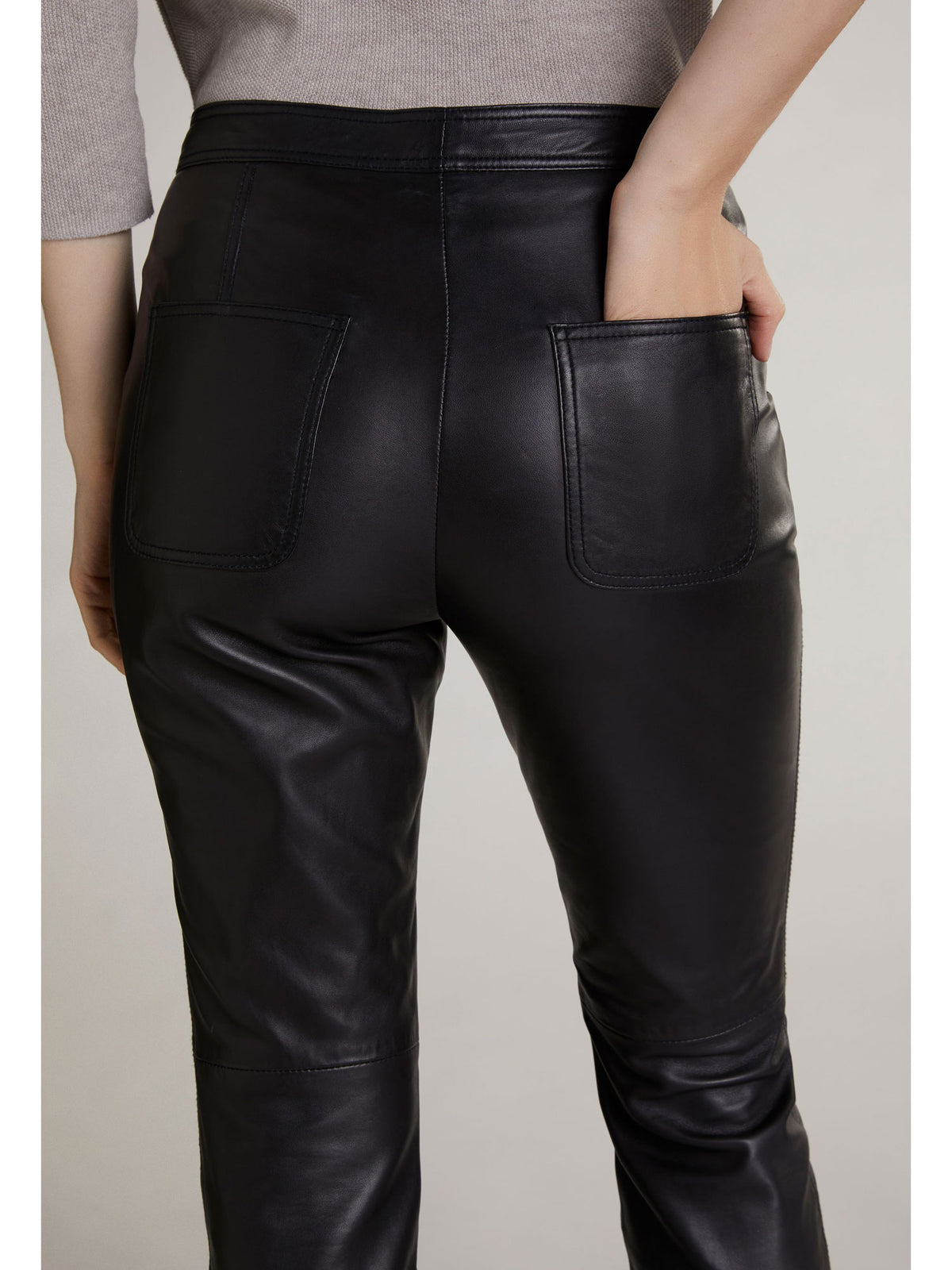 Oui Straight Leather Trousers