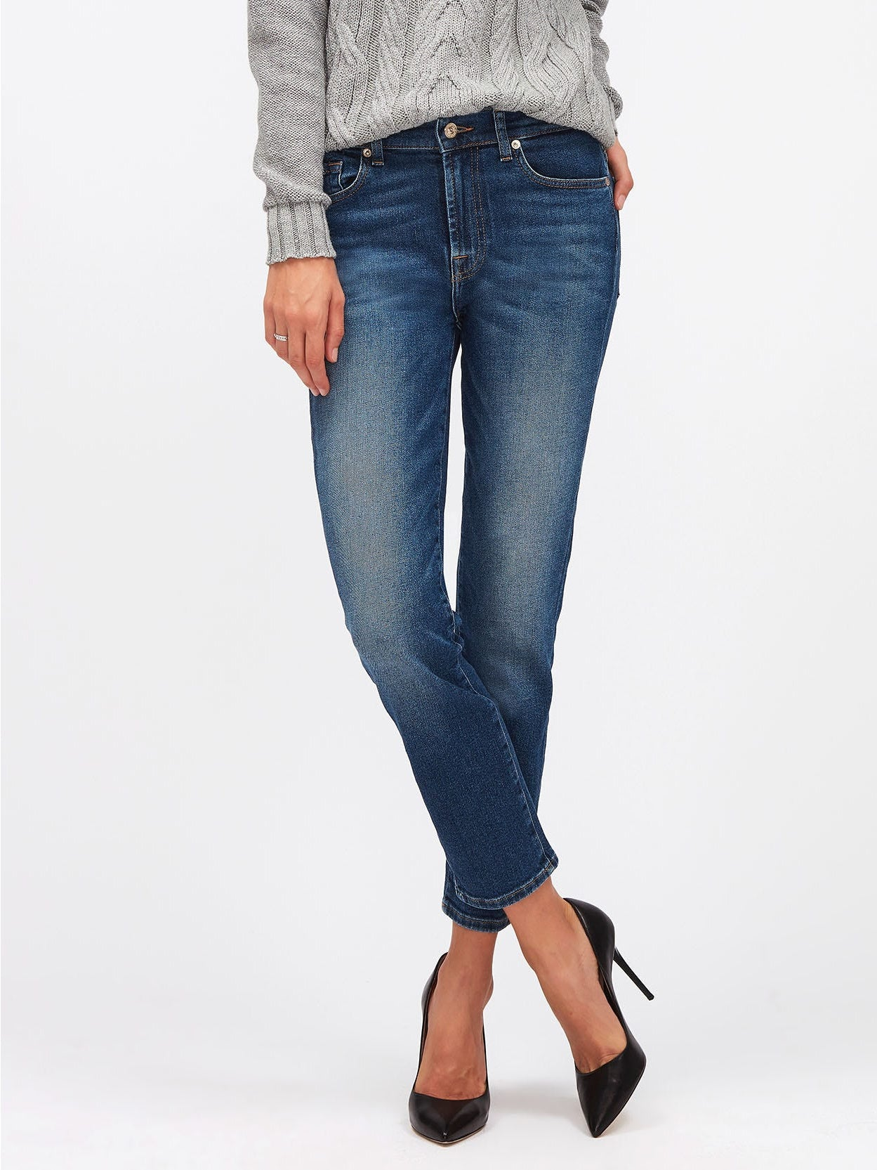 Image of 7 For All Mankind Roxanne Ankle Straight Jeans Mid Blue