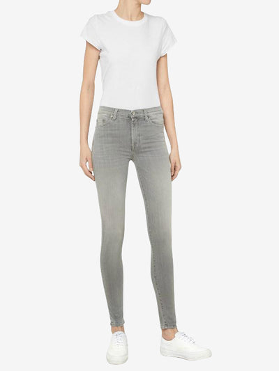 7 For All Mankind High Waist Skinny Slim Illusion Luxe Jeans Washed Grey