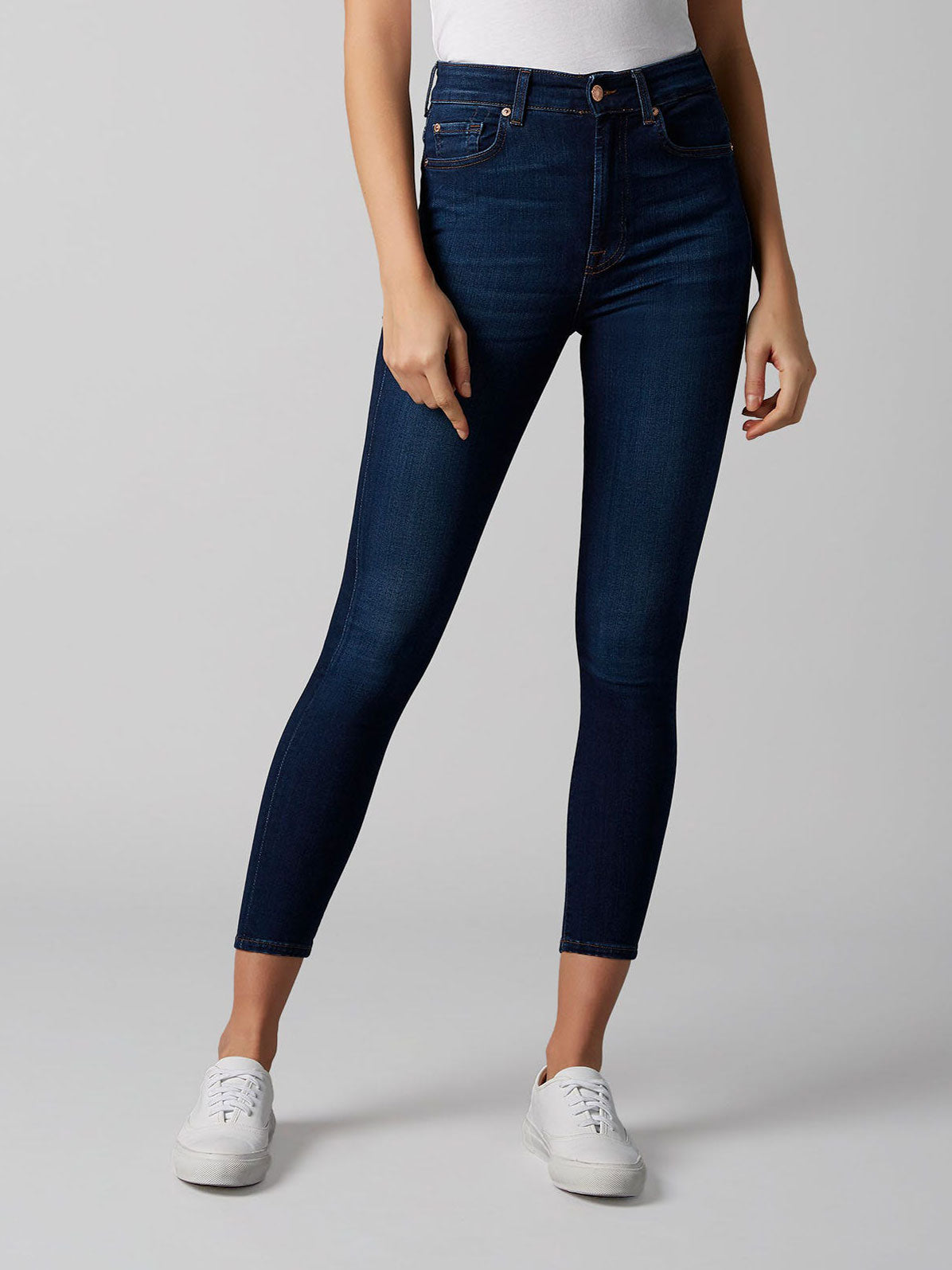 7 For All Mankind Aubrey Skinny Jeans Dark Blue