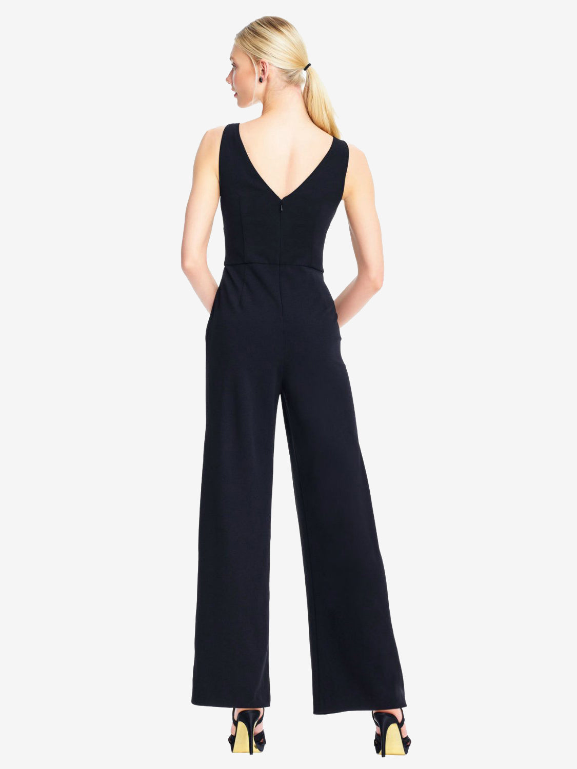Adrianna Papell V Neck Jumpsuit Black