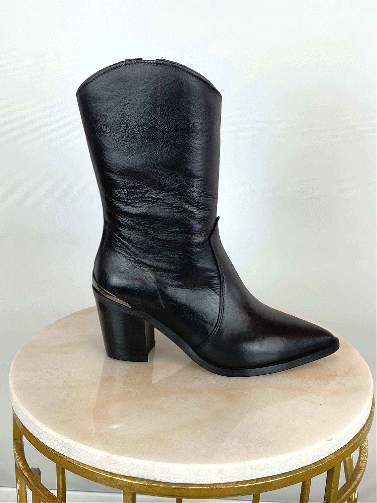 Image of Alpe Mid Calf Leather Western Boot Black