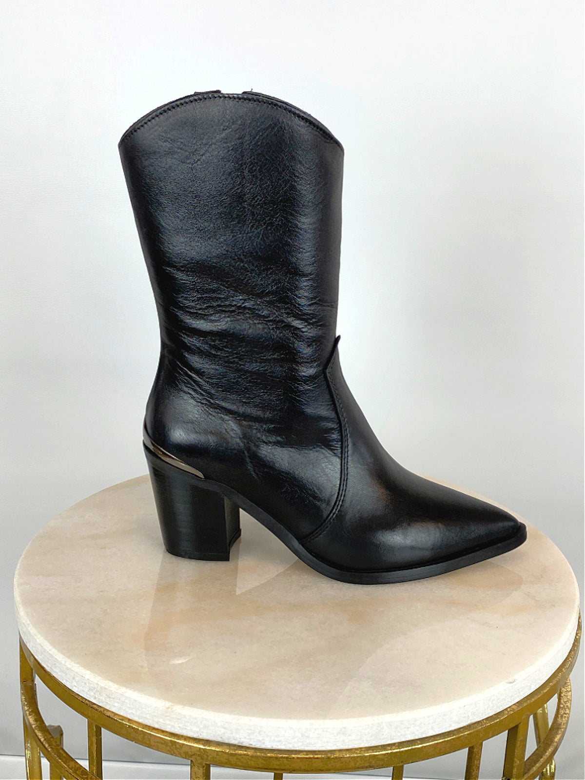 Alpe Mid Calf Leather Western Boot Black