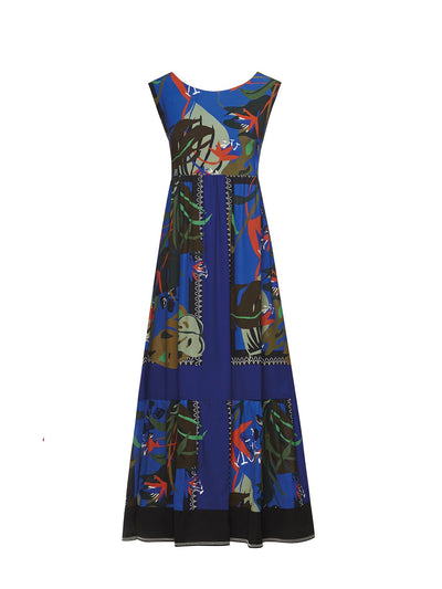 Beatrice B Printed Maxi Loose Tie Back Dress Blue & Red