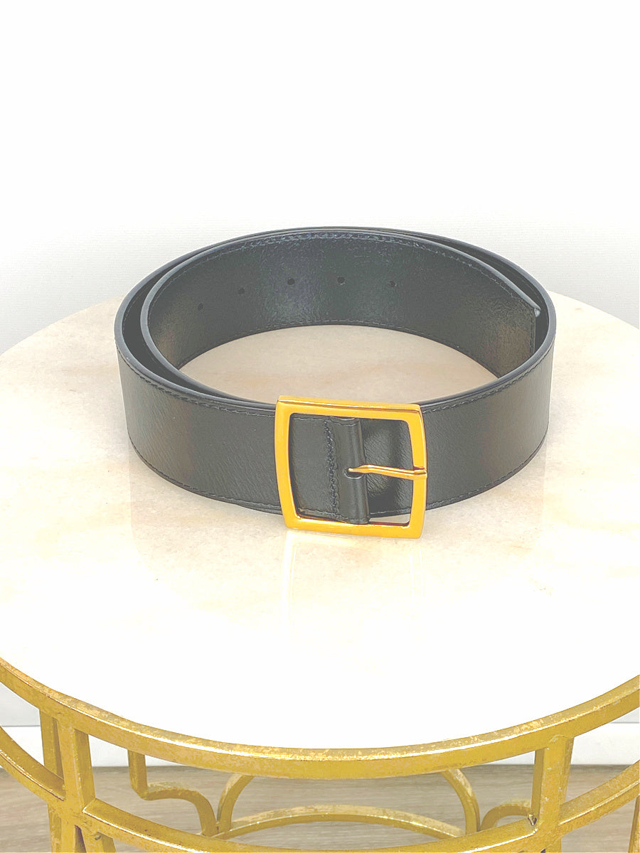 Black Leather Belt With Square Brass Buckle