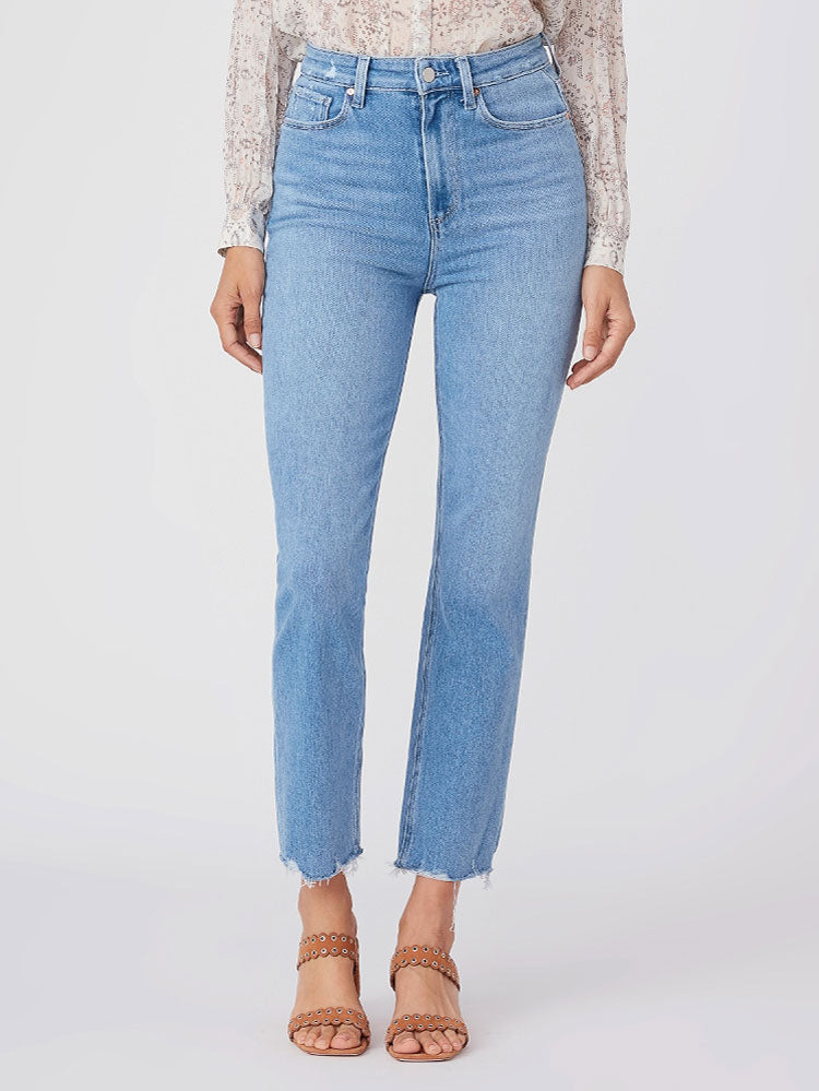 Image of Paige Cindy Ultra High Rise Distressed Hem Jeans Blue