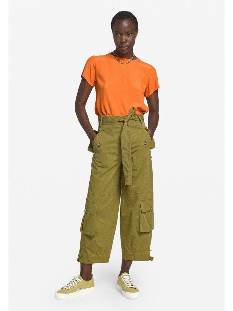 Image of Ottod'Ame Cotton Cropped Trousers Olive