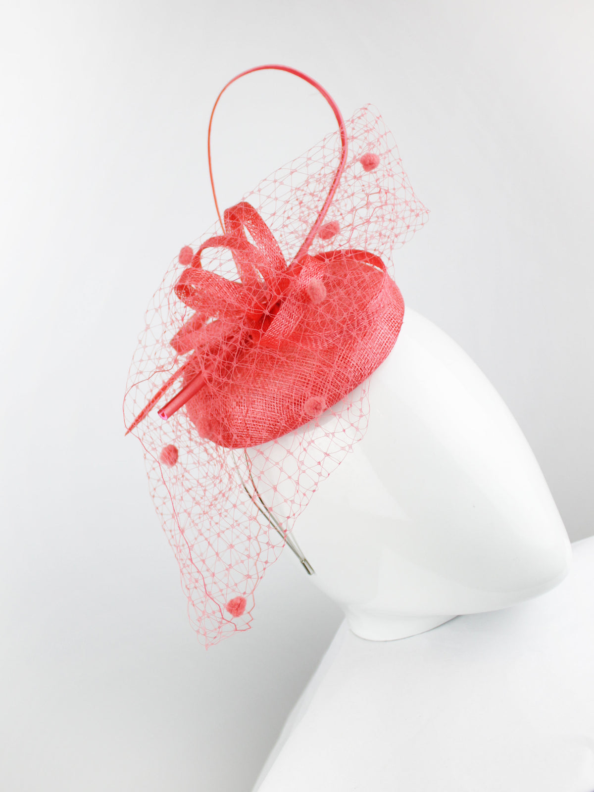 Max & Ellie Pill Box Fascinator in Coral