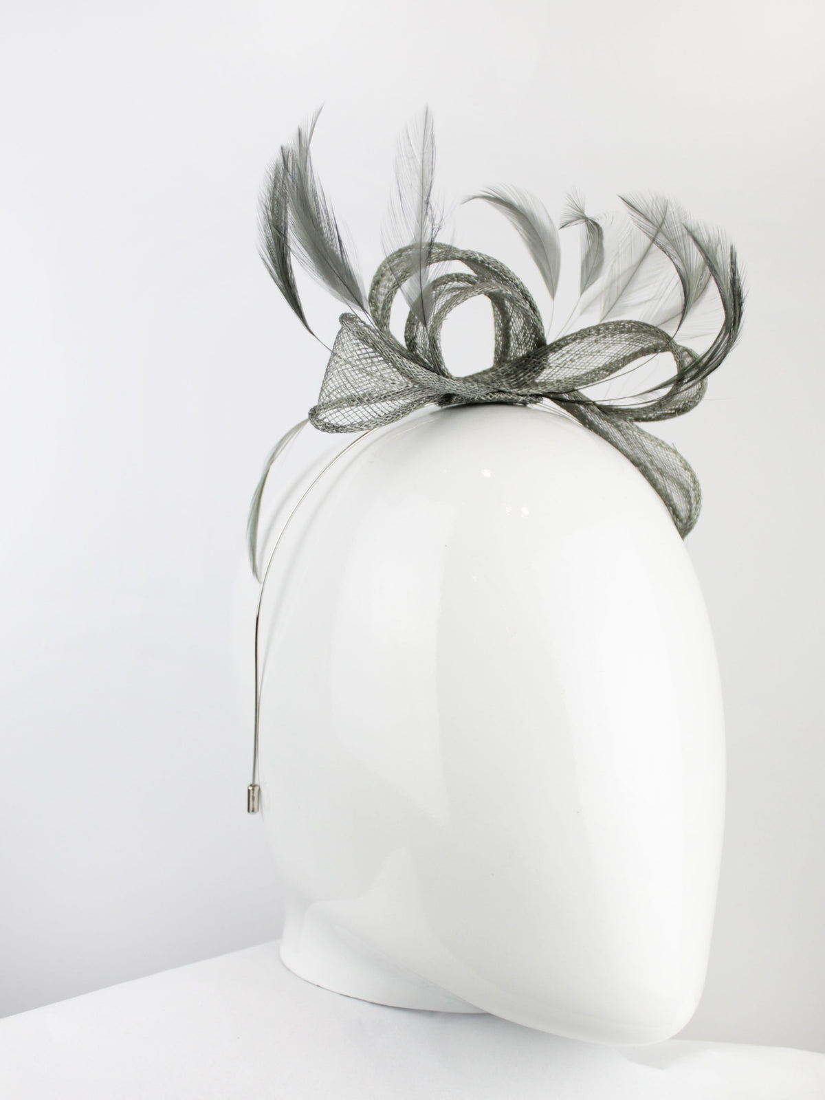 Max & Ellie Fascinator in Pewter Grey