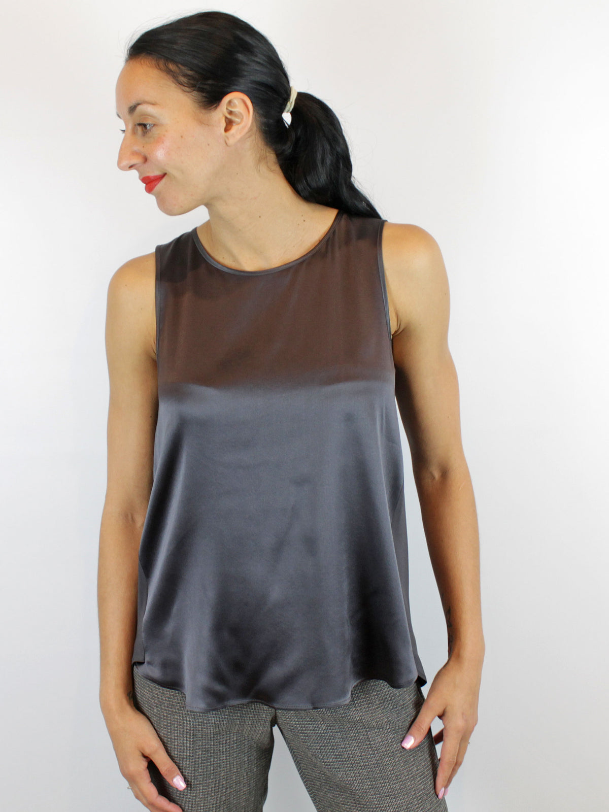 Luisa Cerano Sleeveless Blouse Grey