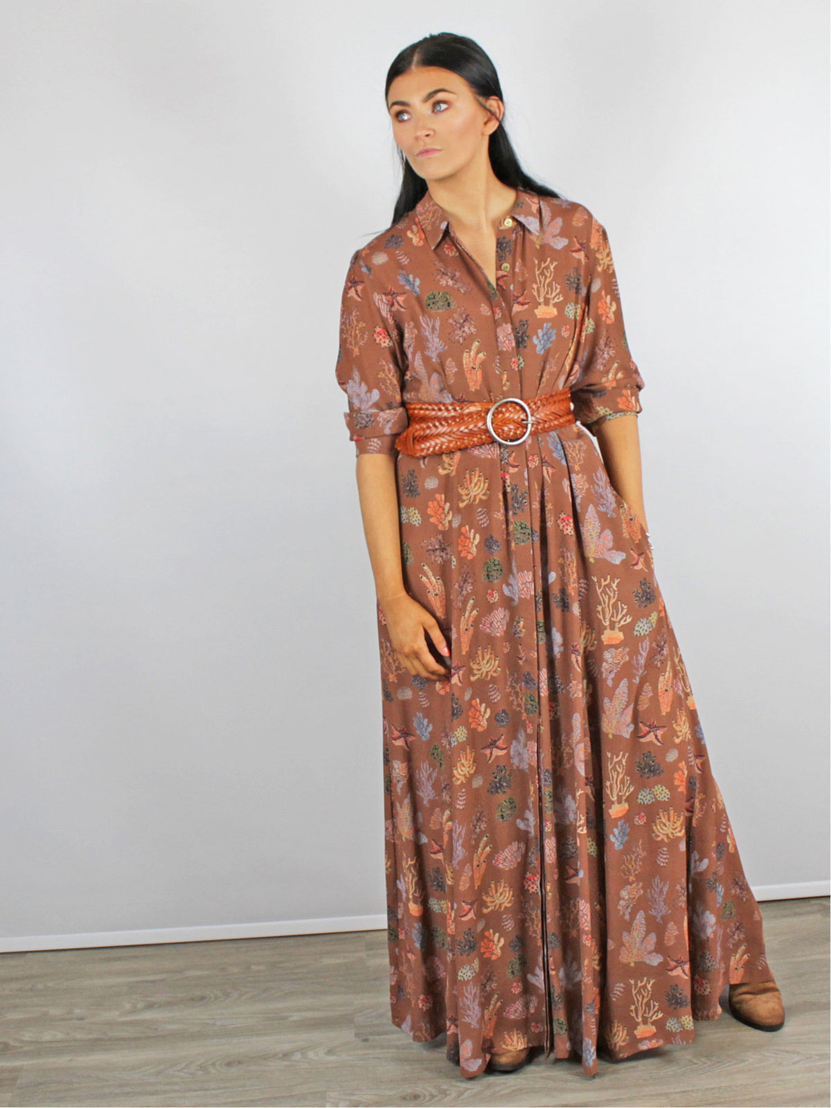 Maxi Shirt Dress Orange & Brown Blank London