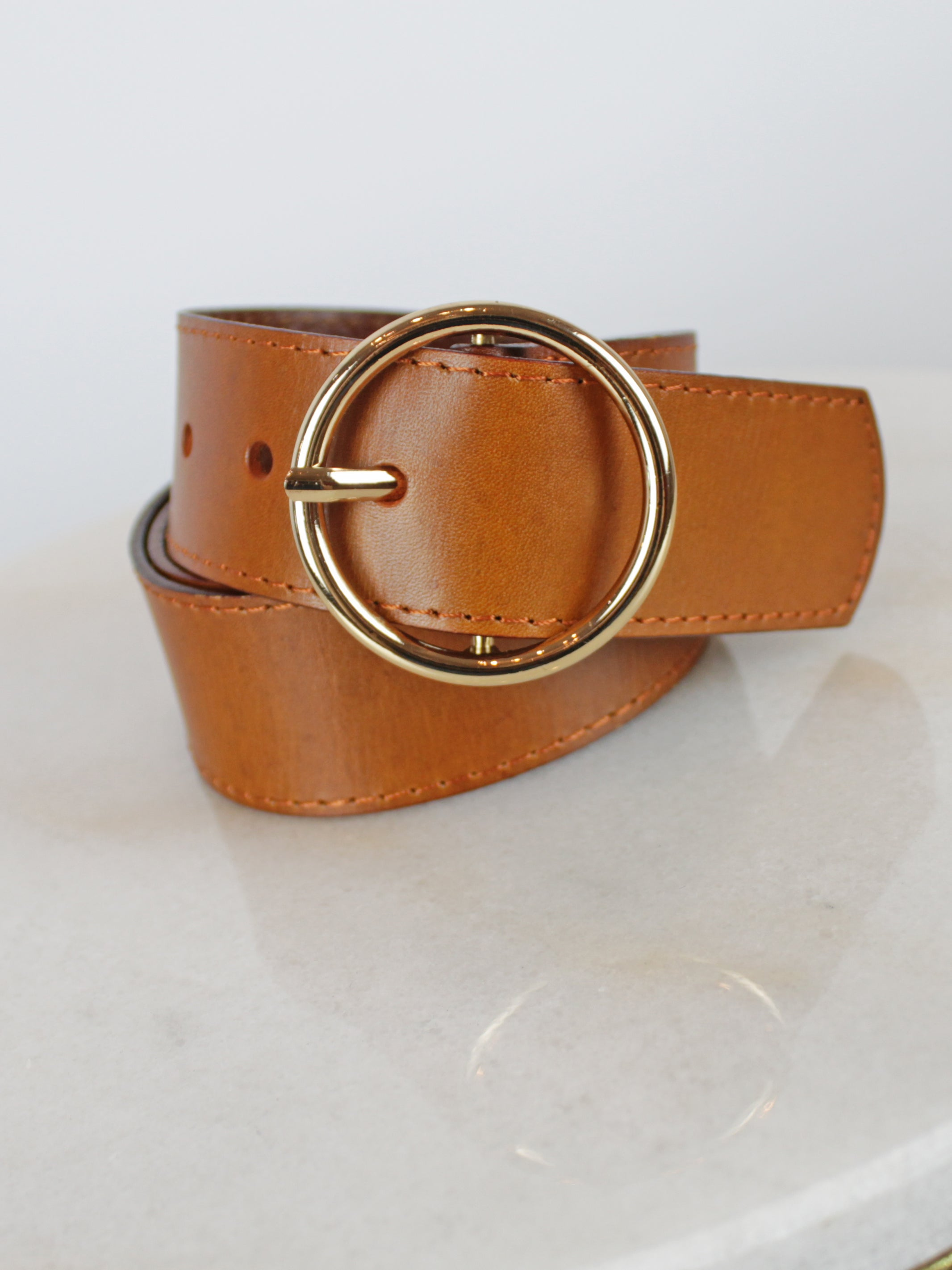 Image of Tan Leather Jeans Belt