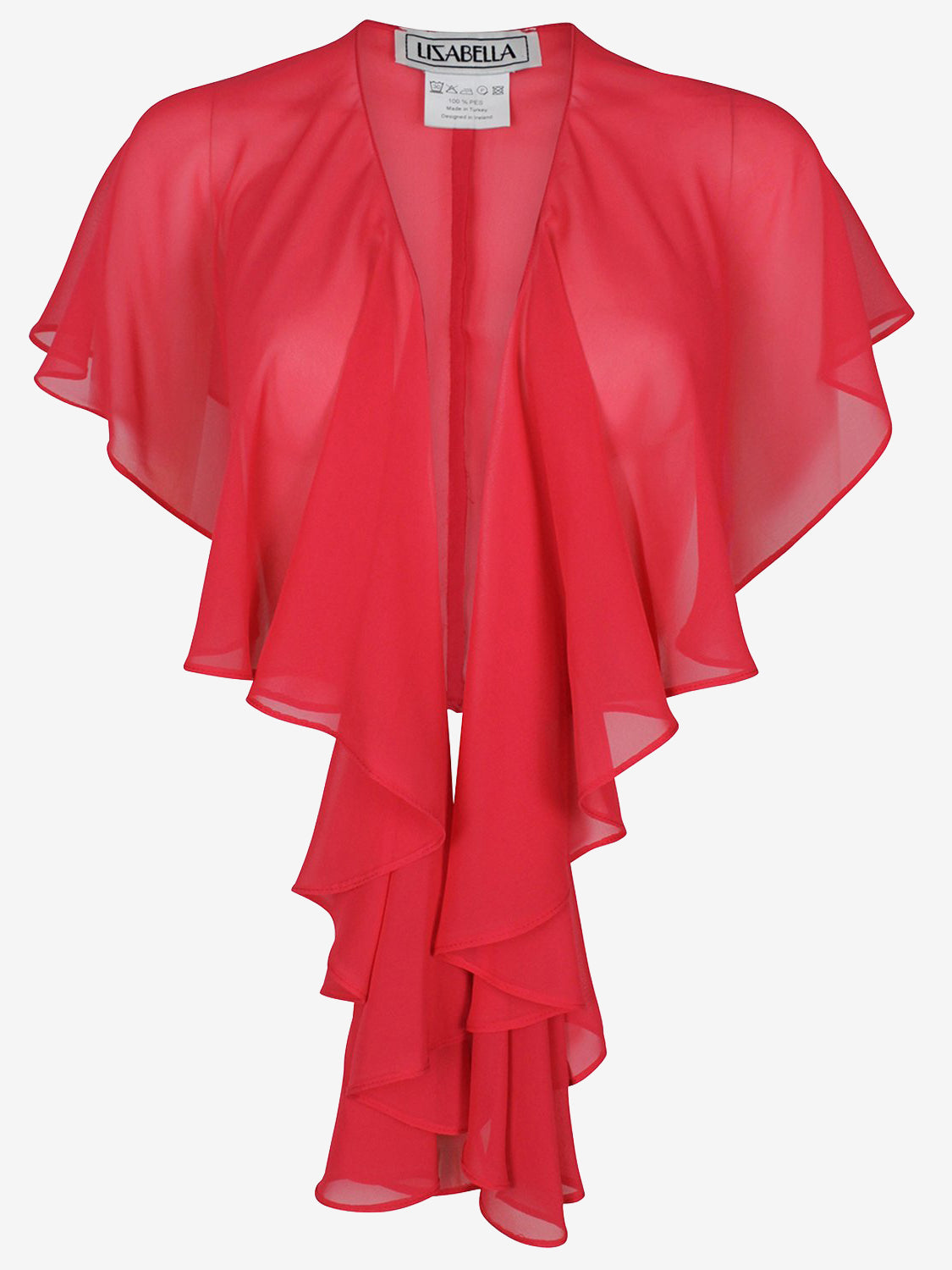Lizabella Fluted Sheer Shawl Red