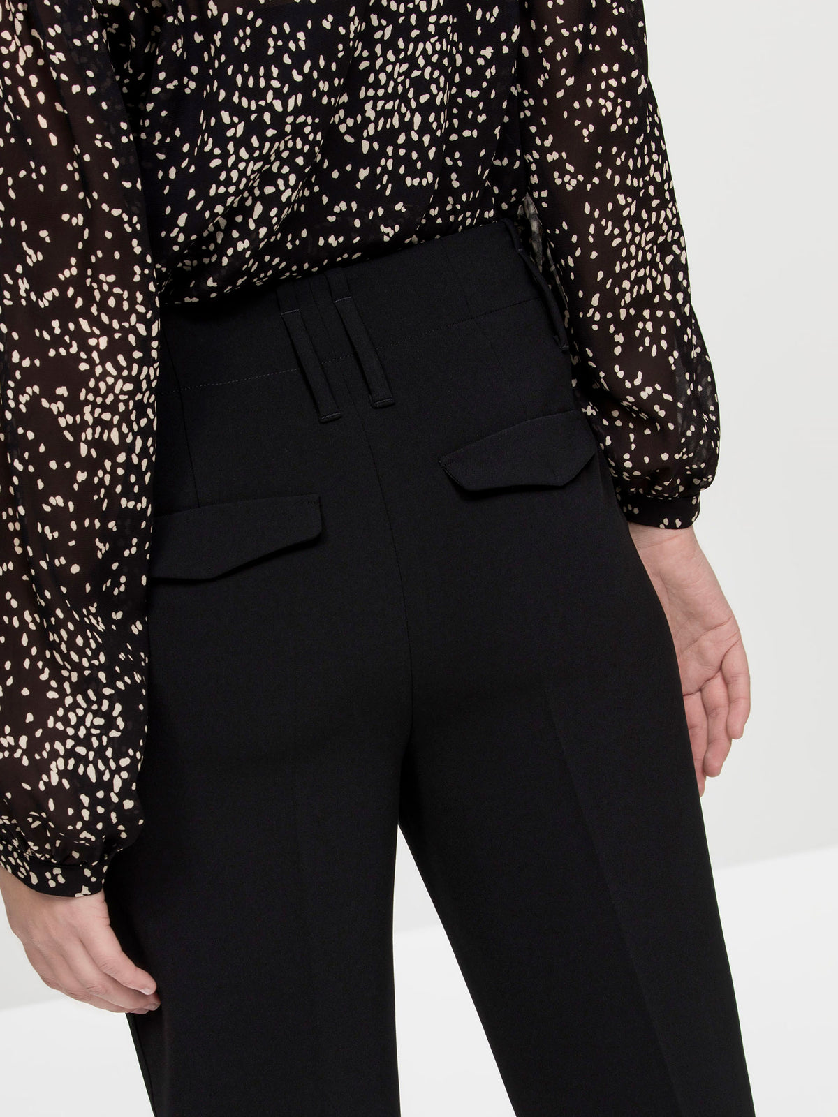 Luisa Cerano Black Tapered Smart Trousers