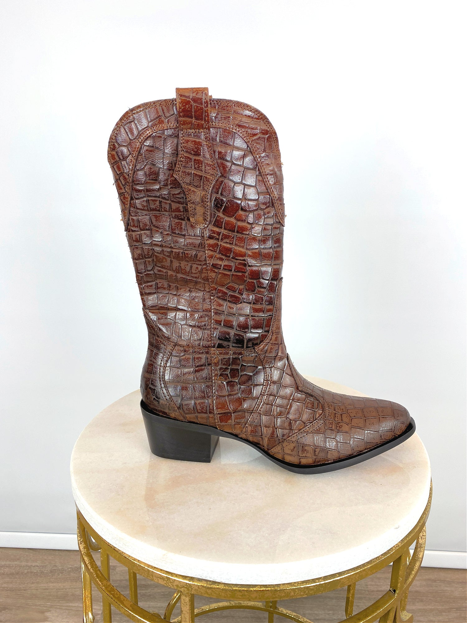 Image of Pons Quintana Croc Western Boots Toffee
