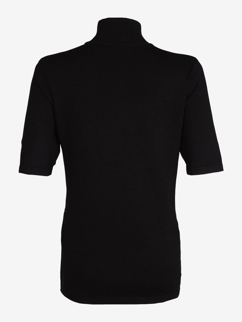 Short Sleeve Roll Neck Black