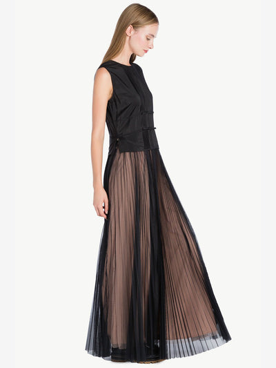 Twinset Pleated Button Tulle Dress Black