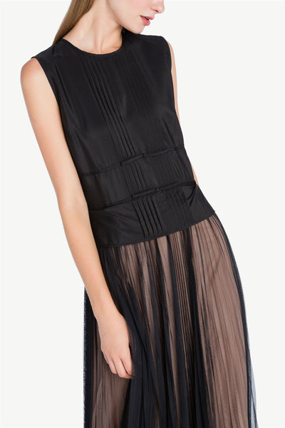 Pleated Button Tulle Dress Black