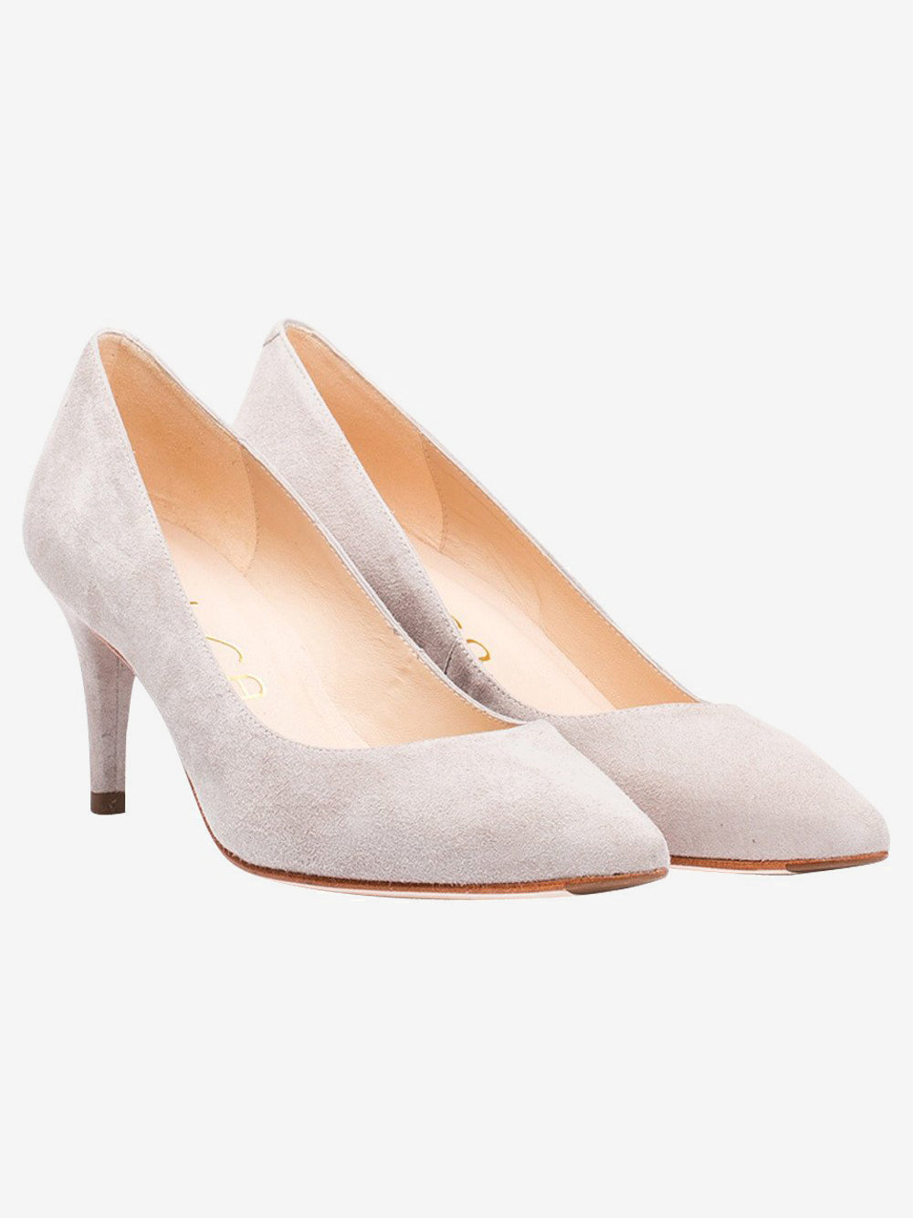 Beige Court Shoe Unisa Kid Suede