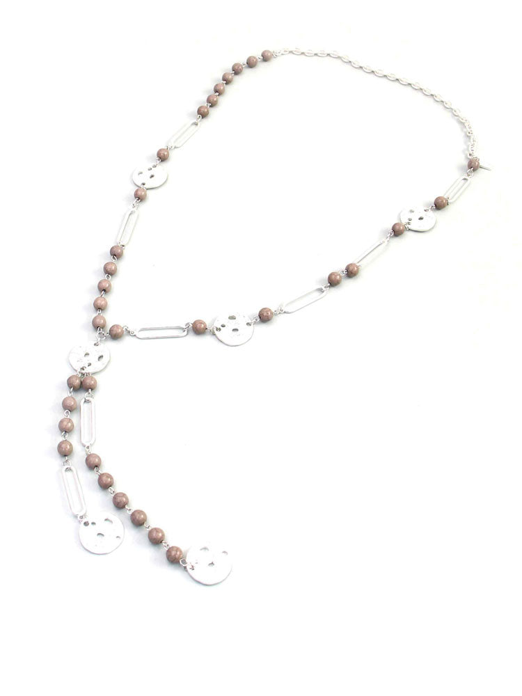 Image of Envy Long Necklace with Grey Beads