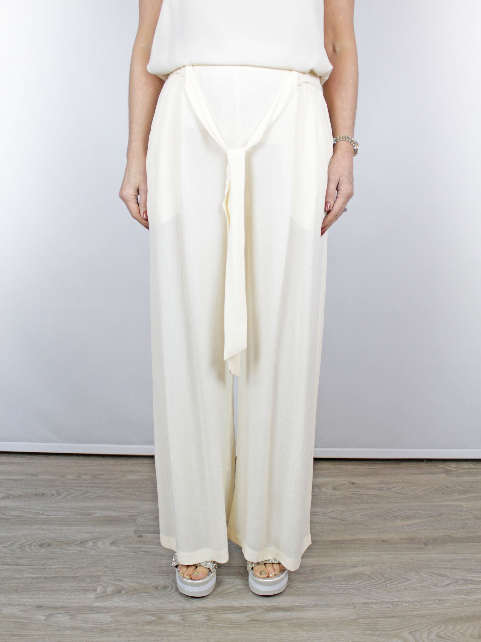 Blank London Mirela Wide Leg Ivory Trousers