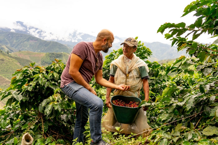 Santiago Gamboa working with local farmer producing Colombian coffee beans