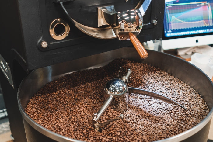 Giesen coffee roasting machine experimenting with different coffee roasts