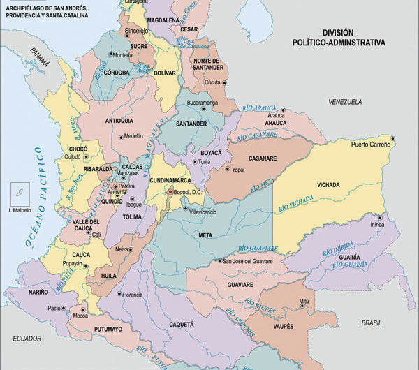 Map of Colombian coffee producing regions