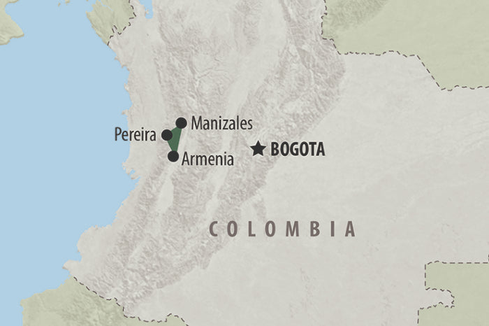 Map of Colombian coffee triangle capital cities
