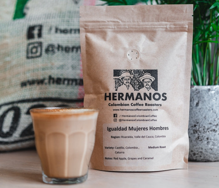 Product image of Hermanos Colombian single origin coffee beans and flat white