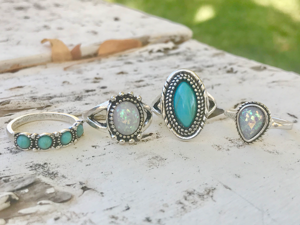 Vintage Silver, Turquoise, and Opal Midi Ring Set