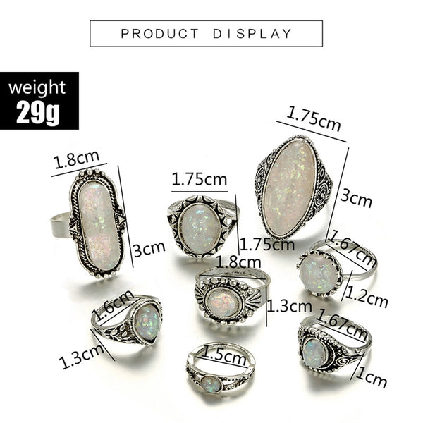 Antique Silver and Resin Opal Boho Vintage Stack Knuckle Midi Rings