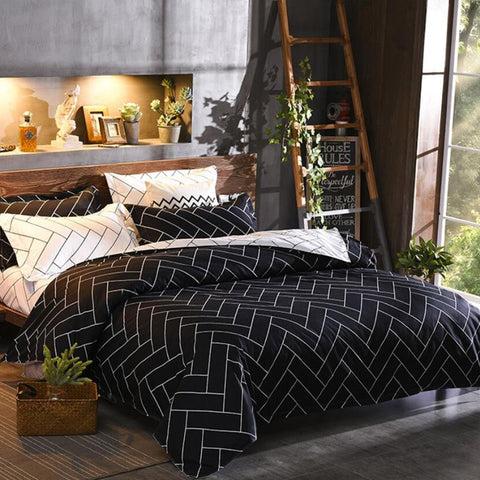 Herringbone Black and White Duvet Set