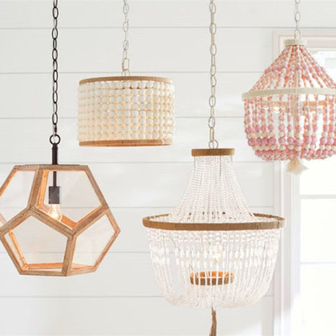 Boho Wood and Natural Beaded Vintage Inspired Pendant Lights