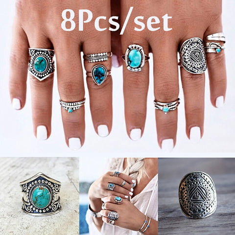 Antique Silver and Turquoise West Desert 8 Piece Ring Set