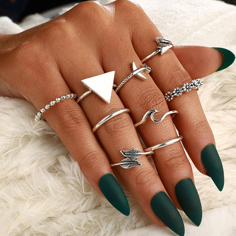 Abstract & Eclectic 8 Piece Silver Stack Ring Set