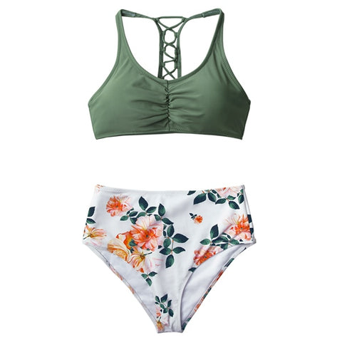 Olive Green and Floral High Waist Bikini